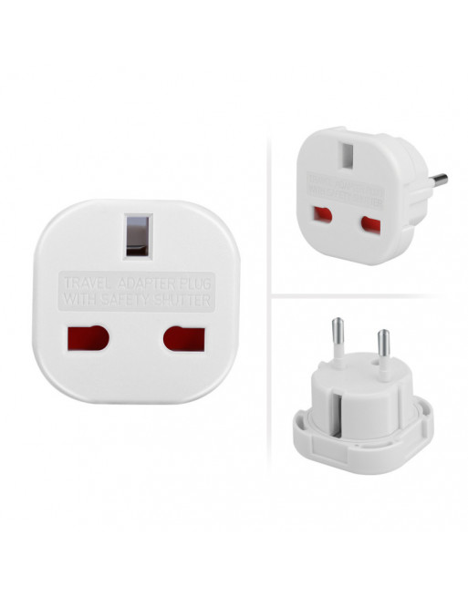 UK to EU Travel adapter with safety shutter.