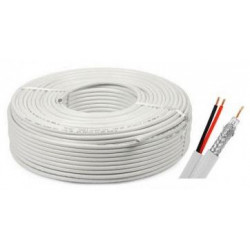 Cablu coaxial CCA RG6 + 2X0,75 alimentare 100M Safer