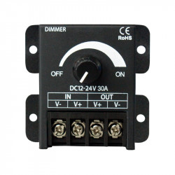 Knob led dimmer, DC12-24V, 8A, 30A, 360W single color