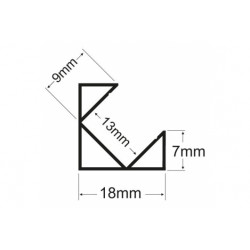 Profil aluminiu colt pentru banda Led, montaj aparent, 1m