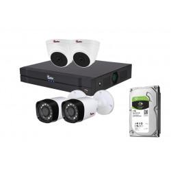 SAFER - Kit supraveghere mixt 4 camere FULL HD, IR 20m